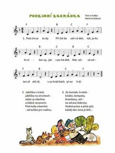 Podzim je tady Activities For Kids, Crafts For Kids, Music Do, Fall Preschool, Thing 1, Dinosaur Party, Kids Songs, Music Notes, Coloring Pages