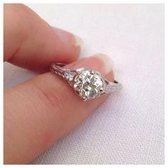 Ughh I want this. Platinum Edwardian Diamond Engagement Ring by RiordanStudio, $3000.00