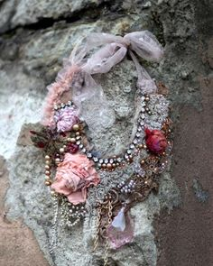 RESERVED-- Frozen roses-- bohemian shabby chic statement necklace from antique…