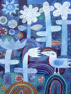 bird amongst flowers « Scottish Contemporary Art Ian and Hilke MacIntyre Modern Art, Contemporary Art, Naive Art, Outsider Art, Illustrations And Posters, Whimsical Art, Bird Art, Abstract Pattern, Textile Art