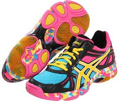 Shop for GEL-Flashpoint (Black/Neon Yellow/Hot Pink) - Footwear by Asics at ShopStyle. Workout Shoes, Workout Style, Workout Gear, Workouts, Black Neon, Neon Yellow, Volleyball Shoes, New Sneakers, Asics Women