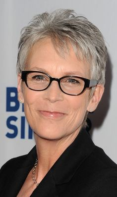20 Tips to Picking Frames for Glasses After Age 50: Jamie Lee Curtis love the whole look - gray works with the choppy bangs