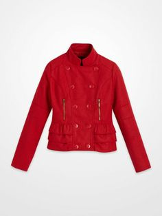 Yoki Red Ruffle Coat $24.99 #peplum #jacket #outerwear #doublebutton #moto #holiday #winter #fall #womens #juniors #fashion