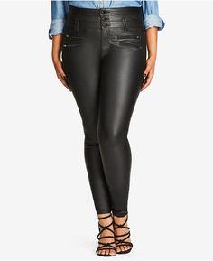 977da17927c City Chic Trendy Plus Size Coated Black Wash Corset-Waist Jeans - Jeans - Plus  Sizes - Macy s