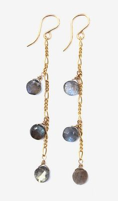 Triple Labradorite Drop Earrings