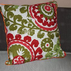 "[USD $ 14.99] 18"" Square Country Embroidery Cotton Decorative Pillow Cover"