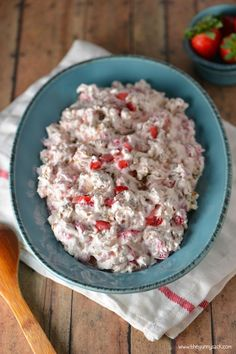Strawberry Pecan Pretzel Salad is one of my family's favorite holiday recipes. This Cool Whip salad recipe is creamy and crunchy, salty and sweet.