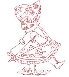 Sunbonnet Sue in Red Free Machine Embroidery Designs, Hand Embroidery Patterns, Applique Patterns, Vintage Embroidery, Applique Quilts, Embroidery Applique, Cross Stitch Embroidery, Quilt Patterns, Lazy Daisy Stitch