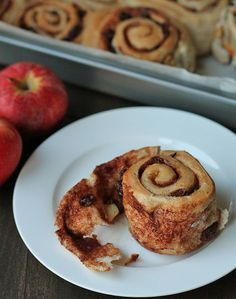 These easy vegan apple raisin cinnamon rolls are tender, not too sweet, and are bursting with flavour. They're the perfect companion for a cup of tea. DelightfulAdventures.com