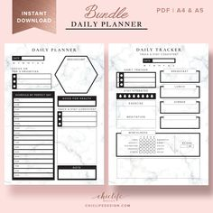Daily Planner Bundle – Hourly With Marble Texture – Chic Life Design Work Planner, Hourly Planner, Planner Pages, Happy Planner, Planner Sheets, Financial Planner, Student Planner Printable, Planner Template, Daily Schedule Printable
