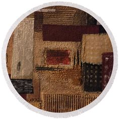 Mosaic Round Beach Towel by Agota Horvath. The beach towel is in diameter and made from polyester fabric.