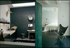 rustic modern bath & bedroom, photography by Hotze