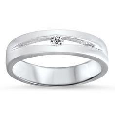10k channel set white gold band + diamond center stone