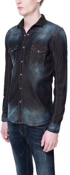 Denim Shirt with Contrasting Lining - Lyst