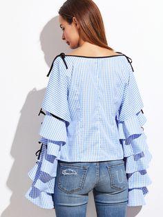 Shop Blue Striped Bow Tie Split Ruffle Sleeve Blouse online. SheIn offers Blue Striped Bow Tie Split Ruffle Sleeve Blouse & more to fit your fashionable needs.