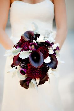Gorgeous purple & burgundy bridal bouquet with calla lilies