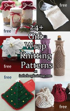 Knitting patterns for gift bags, gift card holders, bottle cozies, gift toppers and more gift wrap knitting patterns