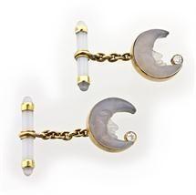 Russian chalcedony 'moon' cufflinks ca 1890