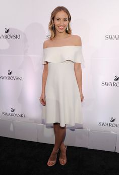 Harley Viera-Newton Off-the-Shoulder Dress - Harley Viera-Newton looked simply lovely in this white off-the-shoulder dress at the Swarovski #bebrilliant event.