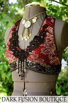 Halter, A Cup, Black and Dark Red, Maroon, Noir, Bellydance, Costume, Tribal, Fusion, Kuchi, Bra, Gothic