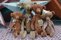 E-PATTERN PDF Primitive Old Grungy Heirloom Bears Doll Pattern - pinned by pin4etsy.com