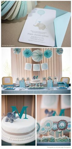 Sweet baby blue baby shower theme  I love this but with birds instead of elephants