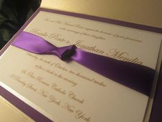 Purple and Champagne Pocketfold Wedding Invitation.