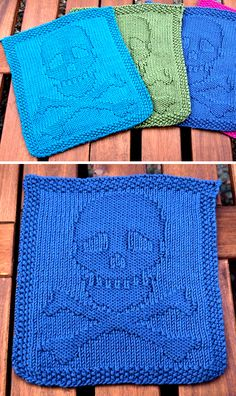 Pirate, Punk, and Other Skull Motif Knitting Patterns Free Knitting Pattern for Skull and Crossbones Dishcloth – Skull and crossbones in knit and purl for cloths, afghan blocks, or other projects. Designed by Miriam Giles. Pictured project by tiggershark Knitted Washcloth Patterns, Knitted Washcloths, Dishcloth Knitting Patterns, Crochet Dishcloths, Knit Or Crochet, Loom Knitting, Knit Patterns, Free Knitting, Baby Knitting