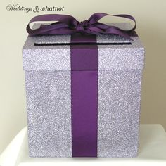 Light Purple and Purple Wedding Card Box by WeddingsAndWhatnot, $40.00