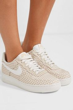 Nike Nike Air Force 1 Leather And Pvc trimmed Gingham Canvas Sneakers Blue from NET A PORTER Limited   ShapeShop