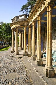 Briston Collonade garden folly at Portmeirion, Wales. Italian Village, Holiday Places, Kingdom Of Great Britain, Snowdonia, Cymru, Beautiful Architecture, Cityscapes, Columns, Olympus