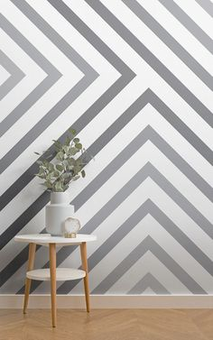 Style a geometric wall that is modern yet not too overpowering with this grey striped wallpaper, a subtle fade design. Grey Striped Wallpaper, Grey Striped Walls, Designer Wallpaper, Wallpaper Designs, Grey Hallway, Hallway Wallpaper, Contemporary Home Decor, Hallway Decorating, Wall Murals