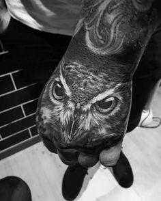 Heavily Shaded Mens Realistic Owl Hand Tattoo