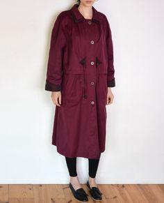 90's burgundy coat oversized parka trench by WoodhouseStudios