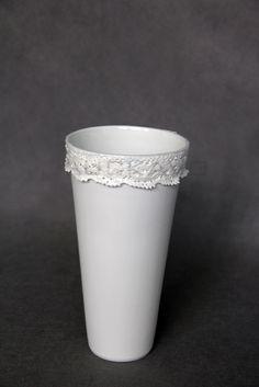 - porcelain decoration by lace Lace Vase, Rococo, Porcelain, Pure Products, Elegant, Decoration, Home Decor, Classy, Decor