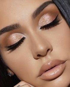 Fantastische schimmernde Lidschatten-Look-Ideen Hair and Make-Up Shimmery Eyeshadow Look Ide Natural Summer Makeup, Natural Makeup Looks, Natural Eyeshadow Looks, Gold Eyeshadow Looks, Golden Eyeshadow, Neutral Eyeshadow, Natural Lipstick, Nude Lipstick, Natural Nails