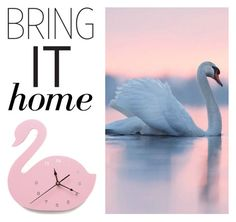 """""""Bring It Home: Wooden Swan Wall Clock"""" by polyvore-editorial ❤ liked on Polyvore featuring interior, interiors, interior design, home, home decor, interior decorating, Waterford and bringithome"""