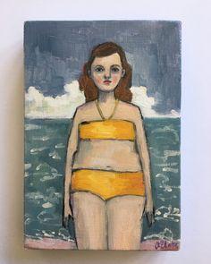 Hortense - oil painting on wood. Amanda Blake swimmer sea