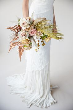 The unusual leaves in this bouquet give a unique (almost tropical) look!