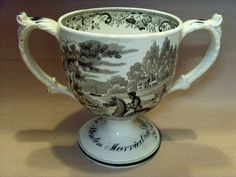 EARLY 19thC ENGLISH TRANSFER PRINTED DOUBLE-HANDLED PORCELAIN LOVING CUP, 1822. in Pottery, Porcelain &…