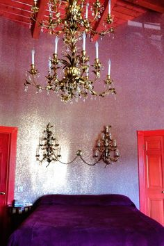 Glitter wallpaper at the Madonna Inn