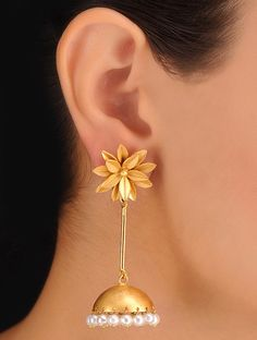 Buy Golden. Ivory Pair of Floral Bold Earrings Metal Alloy Pearls Jewelry Fashion Heritage Hymns Temple Inspired Ethnic Online at Jaypore.com