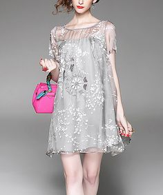 Look at this Alaroo Gray Floral Silk Shift Dress on #zulily today!