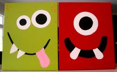 Monster Faces 55.99  Set of Two Canvas 16x20