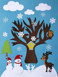 Winter Craft İdeas for Kids - Leaf Crafts, Bunny Crafts, Tree Crafts, Fall Crafts, Christmas Crafts, Diy Pour La Rentrée, Four Seasons Art, Winter Thema, Art For Kids