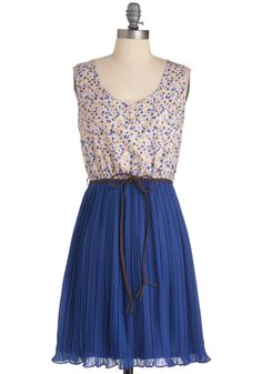 Here's Lupine At You Dress - Mid-length, Blue, Orange, Tan / Cream, Floral, Pleats, Casual, Sheath / Shift, Sleeveless