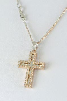 Βαπτιστικός σταυρός σε ροζ χρυσό, με ζιργκόν και καδένα δίχρωμη διπλή 14 καρατίων, κορίτσι, κωδικός GS219 Pearl Necklace, Pearls, Orange, Jewelry, Fashion, Jewellery Making, Moda, String Of Pearls
