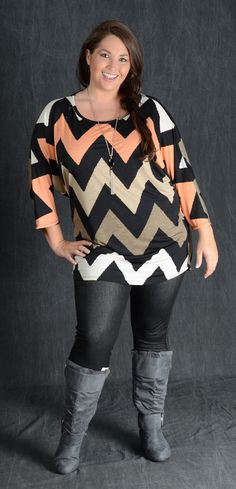 Black/Taupe/Peach/Cream/Tan 3/4 Sleeve 95% Polyester 5% Spandex Shown with Taupe Slouchy Boots Shown with Navy Jeggings