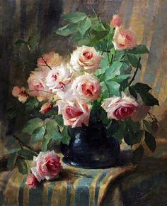Frans Mortelmans (Belgian Still Life with Pink Roses 33 x . Victorian Flowers, Vintage Flowers, Art Floral, Still Life Flowers, Still Life Art, Rose Art, Beautiful Paintings, Pink Roses, Flower Art