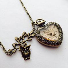 Heart Pendant watch Necklace  Owl  Lead charm by Victorianstudio, $19.96